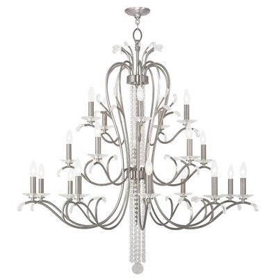 Cleere 20-Light Candle-Style Chandelier Finish: Brushed Nickel