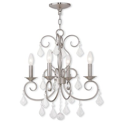 Dockray 4-Light Crystal Chandelier Finish: Brushed Nickel