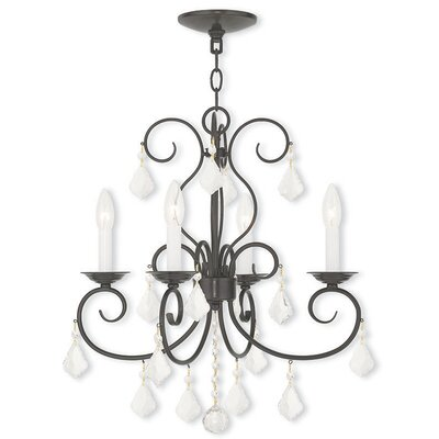 Dockray 4-Light Crystal Chandelier Finish: English Bronze