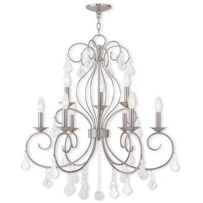 Dockray 9-Light Crystal Chandelier Finish: Brushed Nickel