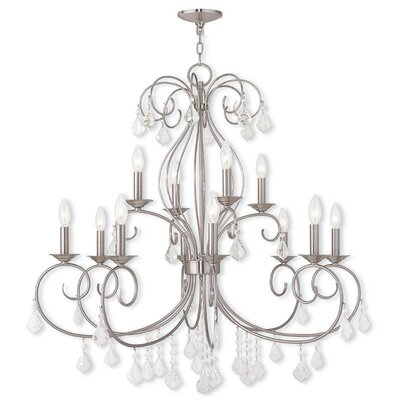 Dockray 12-Light Crystal Chandelier Color: Brushed Nickel