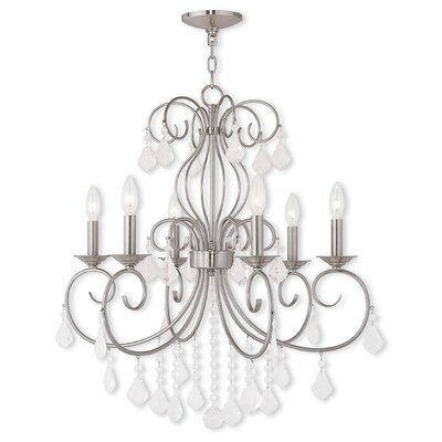 Dockray 6-Light Crystal Chandelier Color: Brushed Nickel