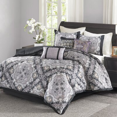 Barris 7 Piece Comforter Set Size: Queen, Color: Black