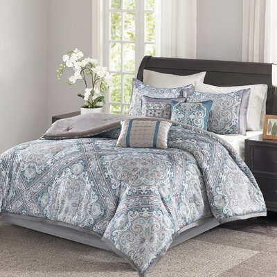 Barris 7 Piece Comforter Set Size: California King, Color: Blue