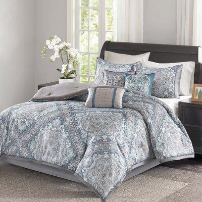 Barris 7 Piece Comforter Set Size: King, Color: Blue