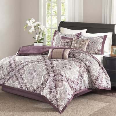 Barris 7 Piece Comforter Set Size: Queen, Color: Burgundy