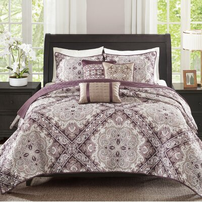 Barris 6 Piece Coverlet Set Size: King/California King, Color: Burgundy