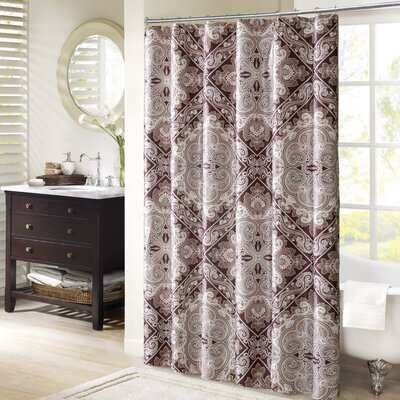 Barris Shower Curtain Color: Burgundy
