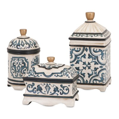 3 Piece Hand Painted Ceramic Boxes Set