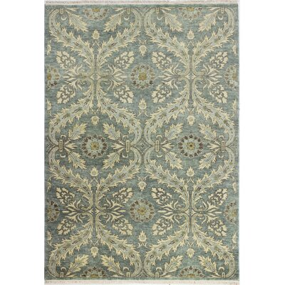 Bartron Hand-Knotted Teal Area Rug Rug Size: 59 x 89
