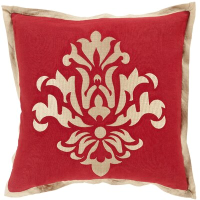 Caledonia 100% Linen Throw Pillow Cover Size: 18 H x 18 W x 0.25 D, Color: RedNeutral