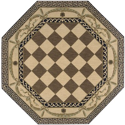 Barras Wool Brown/Beige Area Rug Rug Size: Octagon 8