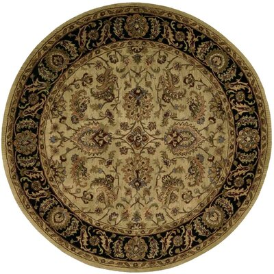 Bassham Hand-Tufted Light Gold Area Rug Rug Size: Round 8