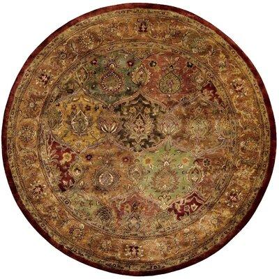 Bassham Brown Wool Hand Woven Area Rug Rug Size: Round 6