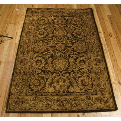 Bassham Hand-Woven Wool Brown Area Rug Rug Size: 96 x 136