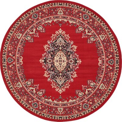 Charlie Red Area Rug Rug Size: Round 8'