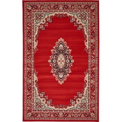 Charlie Red Area Rug Rug Size: 5' x 8'