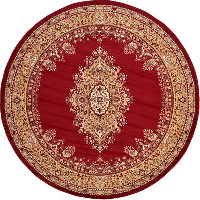 Britain Red Area Rug Rug Size: Round 8