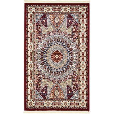 Jackson Burgundy Area Rug Rug Size: Rectangle 3' x 5'
