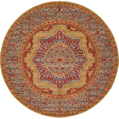 Laurelwood Red Area Rug Rug Size: Round 8