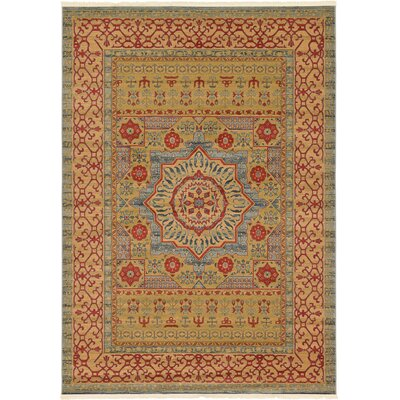 Laurelwood Yellow/Red Area Rug Rug Size: Rectangle 7 x 10