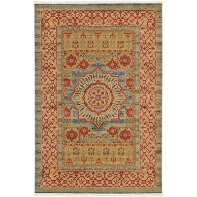Laurelwood Yellow/Red Area Rug Rug Size: Rectangle 6 x 9