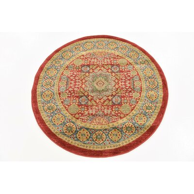 Laurelwood Light Red Area Rug Rug Size: Round 33