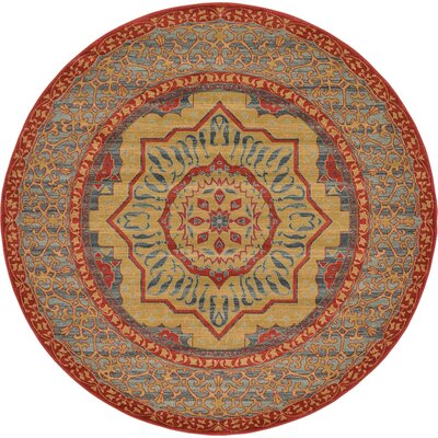 Laurelwood Red Area Rug Rug Size: Round 8 x 8