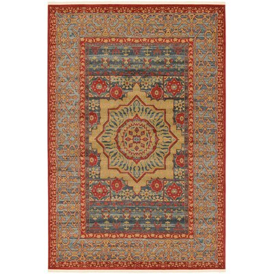 Laurelwood Navy Red Area Rug Rug Size: 6 x 9