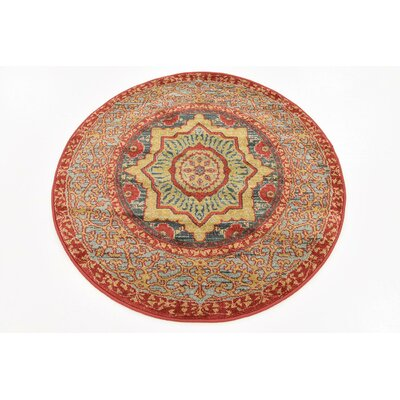 Laurelwood Navy Red Area Rug Rug Size: Round 33