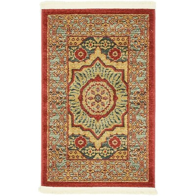 Laurelwood Navy Red Area Rug Rug Size: 2 x 3
