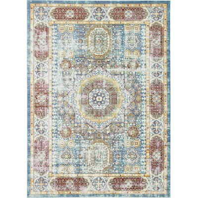 Laurelwood Blue / Red Area Rug Rug Size: 7' x 10'