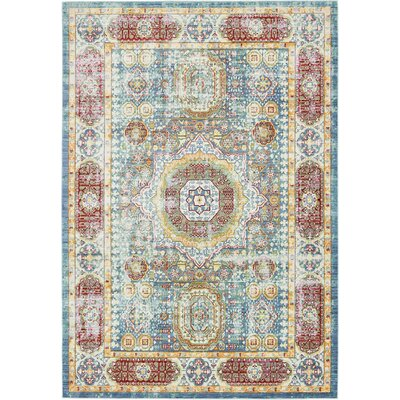 Laurelwood Blue / Red Area Rug Rug Size: 6' x 9'