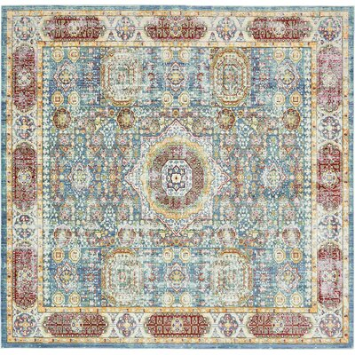 Laurelwood Blue / Red Area Rug Rug Size: Square 8'