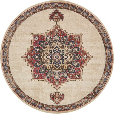 Dulin Cream Area Rug Rug Size: Round 8
