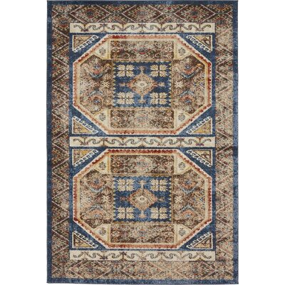 Nathanson Light Blue Area Rug Rug Size: 4 x 6