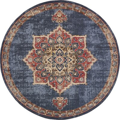 Nathanson Blue/Red Area Rug Rug Size: 5 x 8