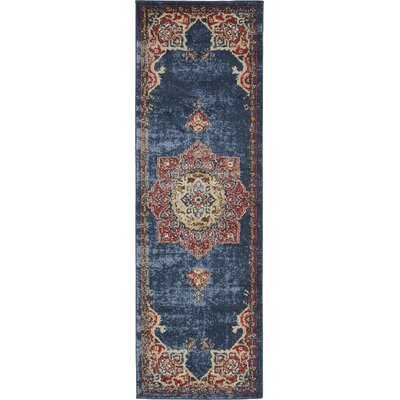 Nathanson Blue/Red Area Rug Rug Size: Runner 2 x 6