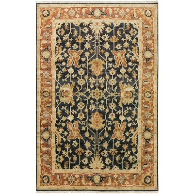 Barlett Hand-Knotted Burnt Orange/Black Area Rug Rug Size: 56 x 86