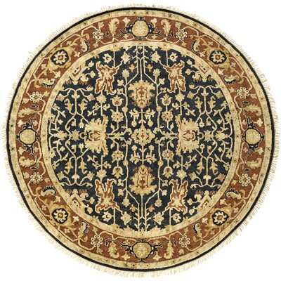 Barlett Hand-Knotted Burnt Orange/Black Area Rug Rug Size: Round 8