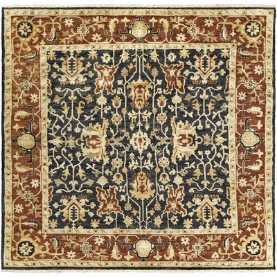 Barlett Hand-Knotted Burnt Orange/Black Area Rug Rug Size: Square 8
