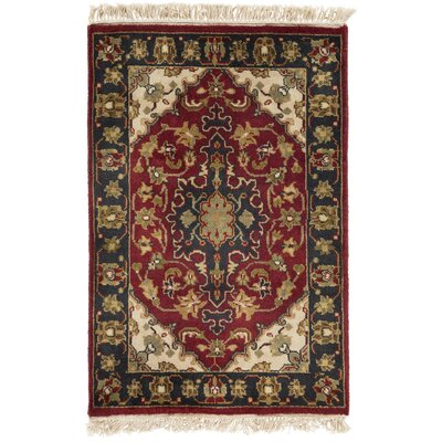 Barlett Hand-Knotted Dark Red Area Rug Rug size: 2 x 3