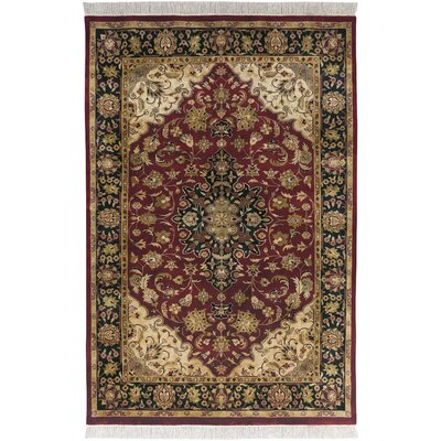 Barlett Hand-Knotted Dark Red Area Rug Rug size: 56 x 86