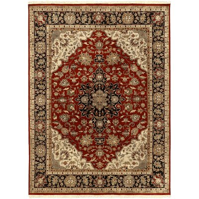 Barlett Hand-Knotted Dark Red Area Rug Rug size: 86 x 116