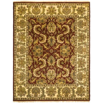 Drumroan Hand-Knotted Red/Beige Area Rug Rug Size: Rectangle 6' x 9'