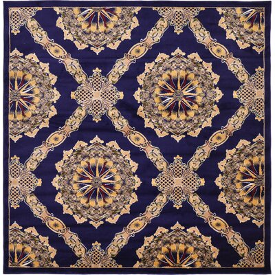 Marmont Navy Blue Area Rug Rug Size: Square 8'