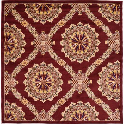 Marmont Burgundy Area Rug Rug Size: Square 8'