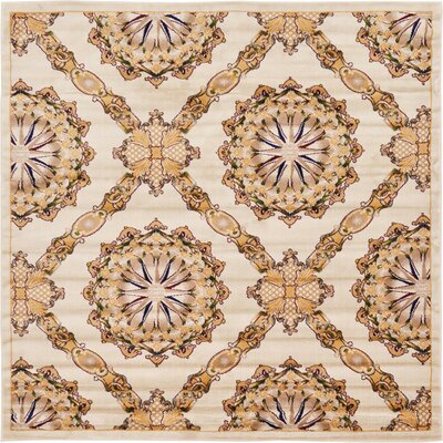 Marmont Cream Area Rug Rug Size: Square 8