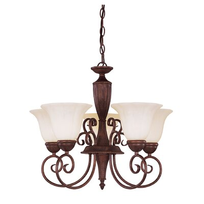 Eaton 5-Light Shaded Chandelier Color: Rustic walnut patina