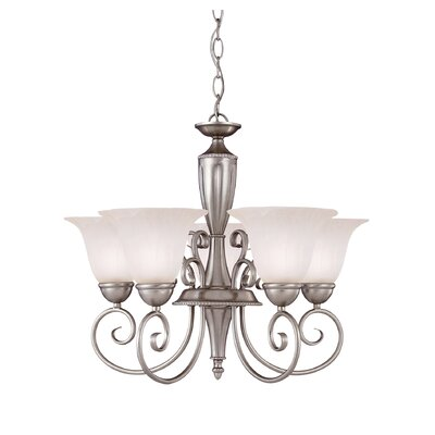 Eaton 5-Light Shaded Chandelier Finish: Pewter